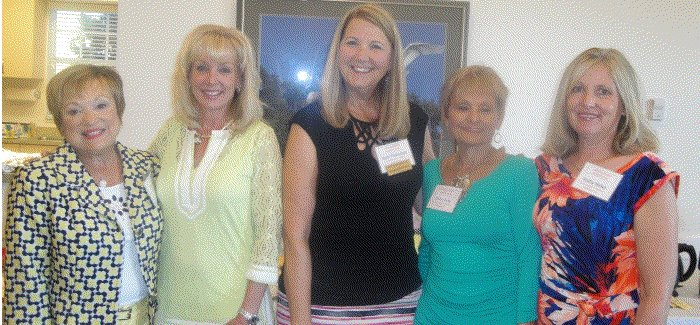 L to R- Patti Wrobel ( 2015 past President), Lynnea Chickadel, Barb Thornton (Membership Chair), and Hospitality Co-Chairs Diane Kuna and Kathy Miller