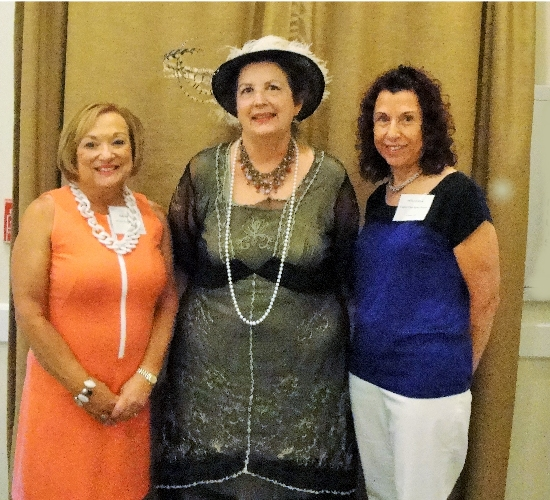 Pictured L to R-LWRWC President Patti Wrobel, and Guest speaker, Kate Holmes from the Sarasota Historical Society portraying Bertha Honoré Palmer and LWRWC Program Chair, Phyllis Fox