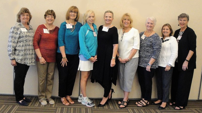New Members L – R: Dee Beardi, Nancy Kudich, Carole Hershman, Denise Beardi, Linda Apple, Marilyn Littlejohn, Cindy Byce, Rose Boothby and Kathy Bello
