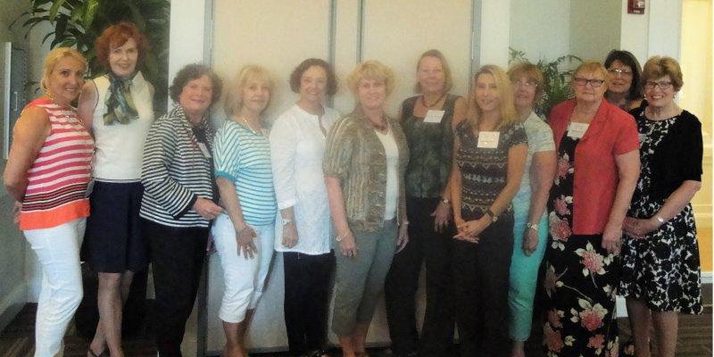 LWRWC New Members – L – R – Esperanza Barnes, Stella Lineburg, Beverly Fisher, Nydia Geller, Paula Reich, Beth Quick, Roxanne Pratt, Ava Vitberg, Kathleen Cleveland, Linda Sutton, Paula Colby, and Katherine Benoit.