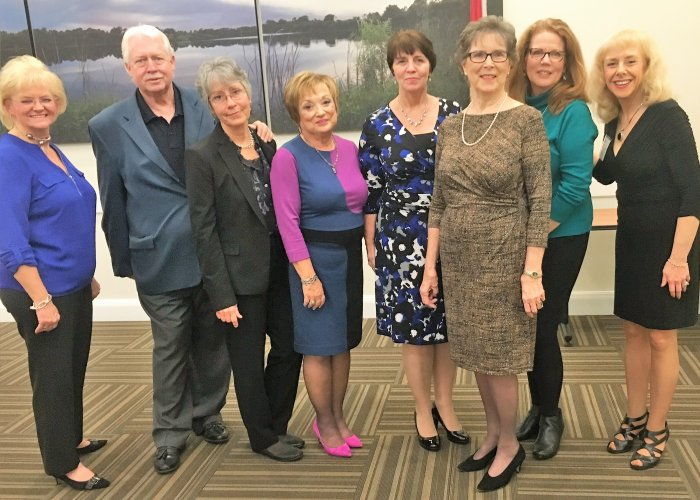 L-R Nancy Wozniak, Philanthropy Chair, Nick Drizos and Gail Clifton from SMART, Patti Wrobel, WC Past President, Peggy Kerwin, Executive Director, SOLVE, Shirley Taradash, WC President, Laurel Lynch, Executive Director, HOPE Family Services, and Monika Templeman, WC Vice President