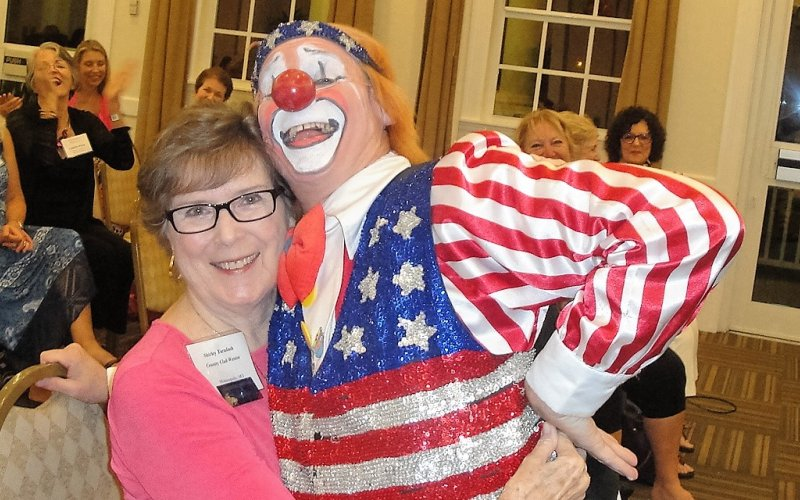 LWRWC President, Shirley Taradash with clown Chuck Sidlow