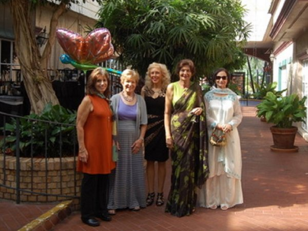 L-R: Registration Chairs Jan Hasler and MaryLee Danahy, Monika Templeman, LWRWC VP and Event Advisor, and LWRWC Members, Lilly Chaddha and Daljit Ranajee (a Silver Business Sponsor)