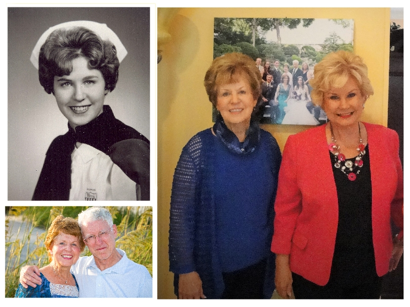 Clockwise from upper left, MaryLee as a young nurse,MaryLee and  ABC Reporter, Linda Carson, MatyLee and husband Paul.