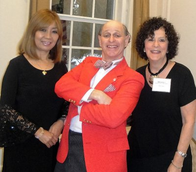 Chuck Sidlow, center, with his wife Noriko and event coordinator Helene Levin.