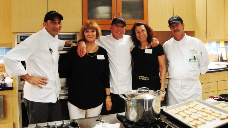 L-R, Lenoire Bredt, event chair, and Phyllis Fox, program chair,  with Chefs Bob, Allen, and Marc