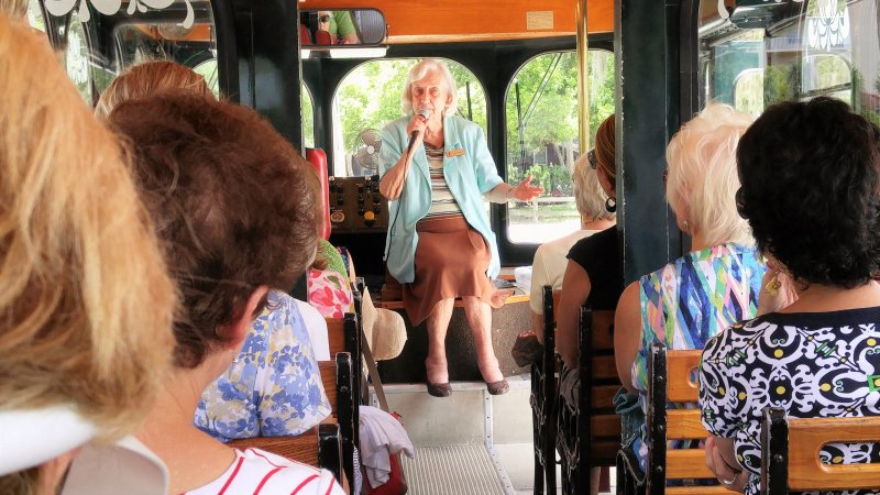 Sarasota Historical Society Tour Guide and Historian, Sue Blue, narrating trolley tour.
