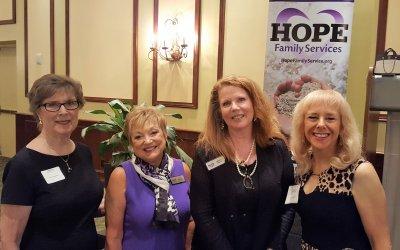 L-R, Shirley Taradash,LWRWC Pres, Patti Wrobel, LWRWC Past Pres, Laurel Lynch, Hope Family Services Director, Monika Templeman, LWRWC Vice Pres
